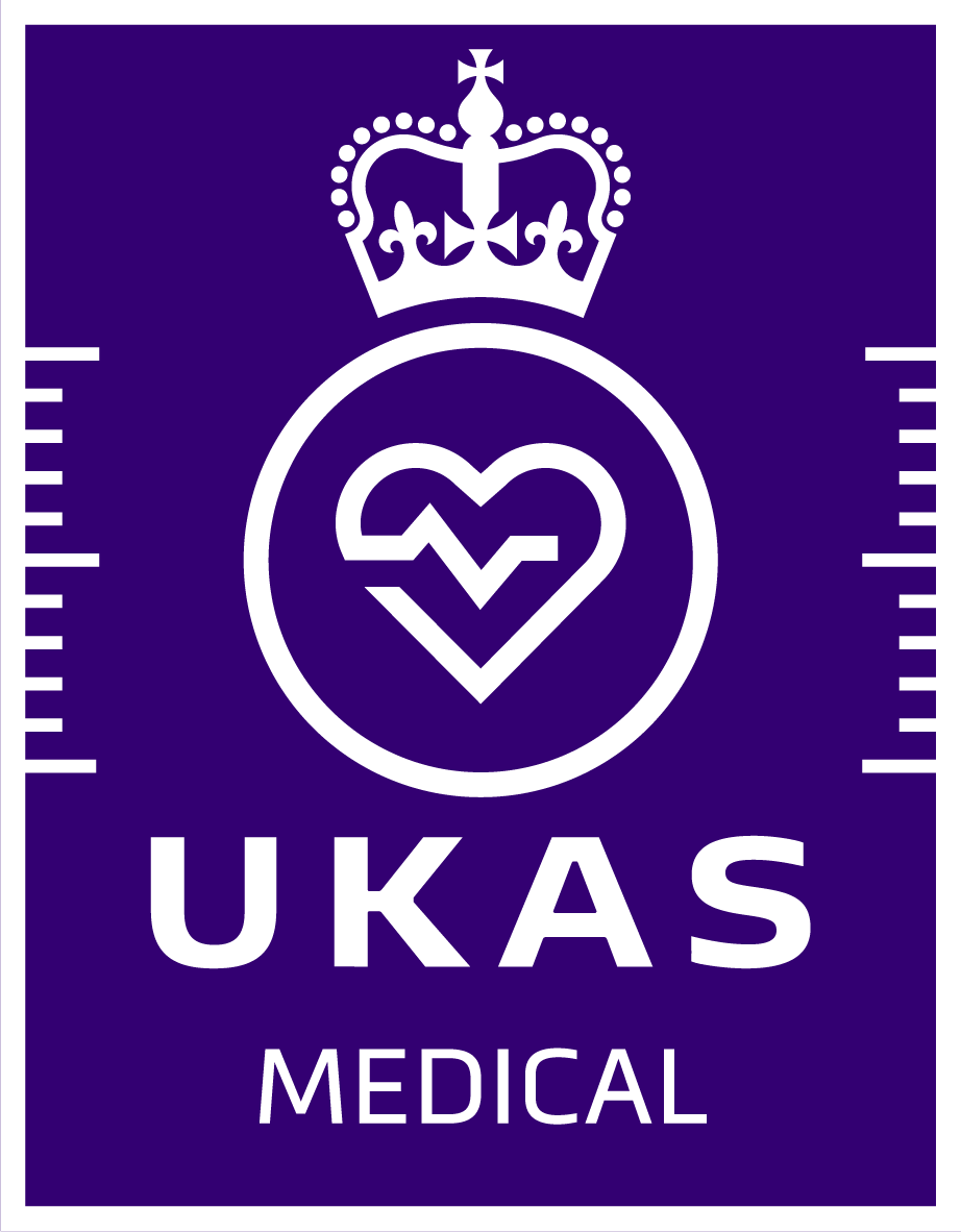 UKAS Accreditation Symbol_RGB - white on purple - Medical